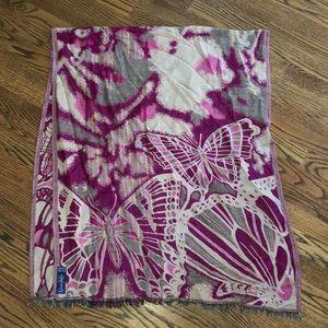 Women's maroon butterfly blanket scarf